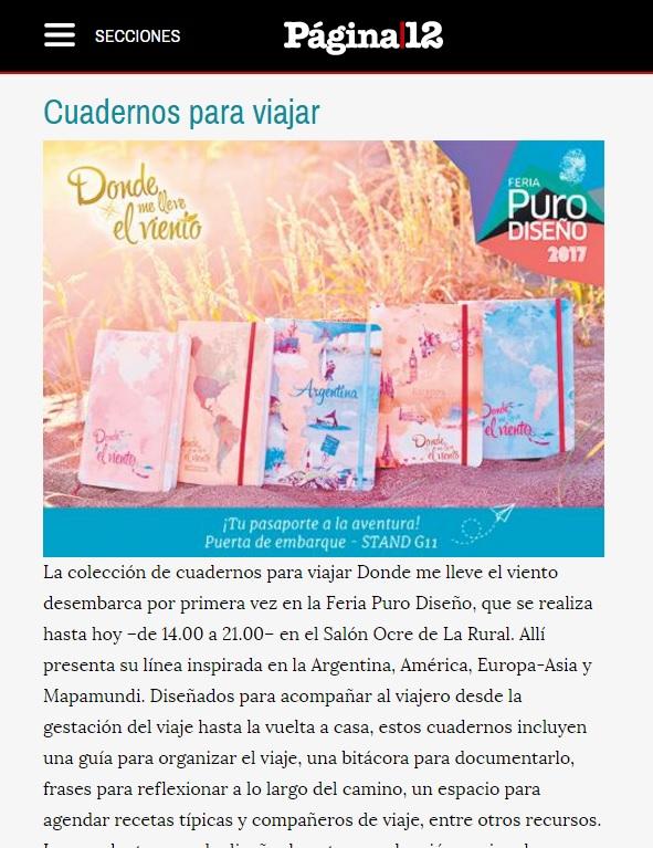 Cuadernos de viaje Donde me lleve el viento en Diario Pagina 12 - Turismo